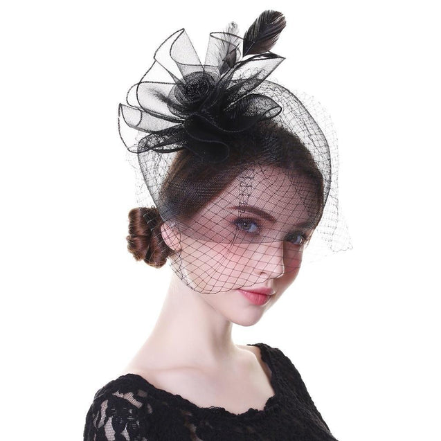 Black Beaded Flower Pillbox Fascinator Hat with Netted Veil and Feathers