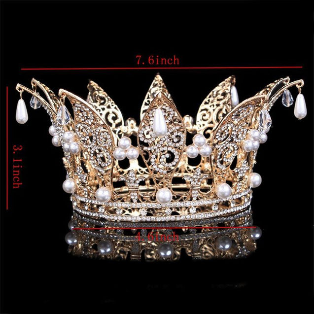 White Crystal Pearl Crown for Men and Women - InnovatoDesign