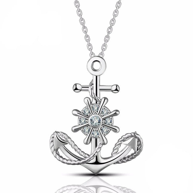 Sterling Silver Wheel and Anchor Pendant Necklace - InnovatoDesign