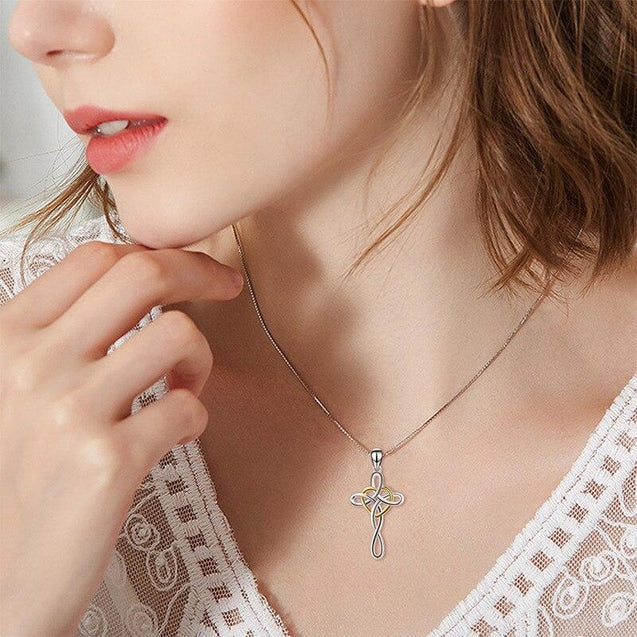 Heart-Shaped Celtic Knot Cross Necklace Pendant - InnovatoDesign