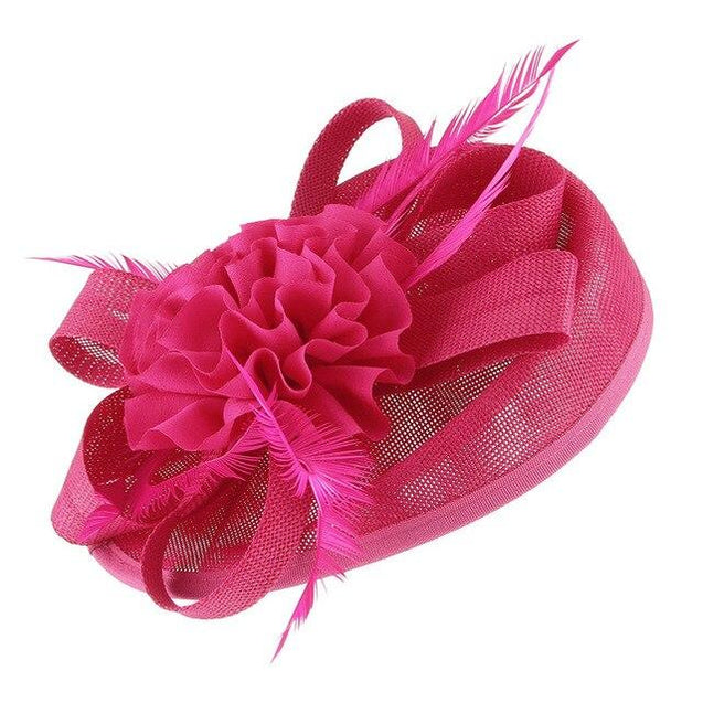 Vintage Hair Clip Flower Fascinator Hat with Feathers