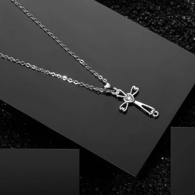 Sterling Silver Cross Pendant with Crystal Heart Necklace - InnovatoDesign