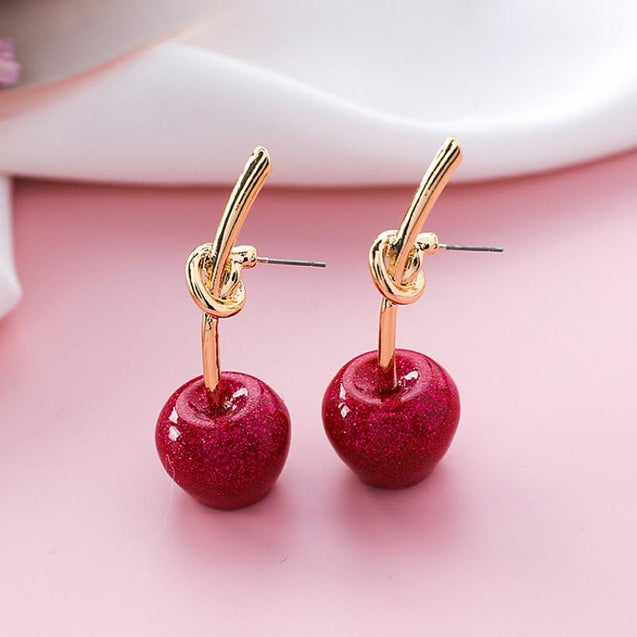Gold & Red Round Dangle Cherry Earrings