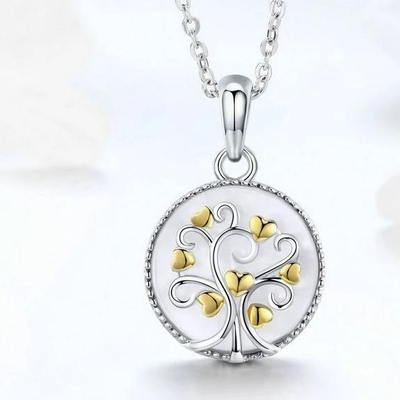 925 Sterling Silver Tree of Life with Gold Plated Hearts Pendant Necklace - InnovatoDesign