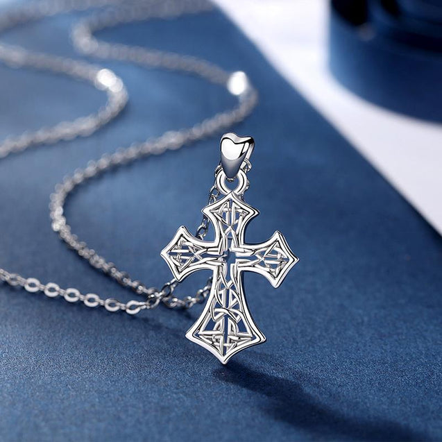 925 Sterling Silver Catholic Cross with Celtic Knot Inlay Pendant Necklace - InnovatoDesign
