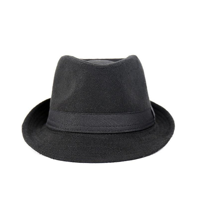 Classic Wide Brim Fedora Trilby Hat with Black Hatband