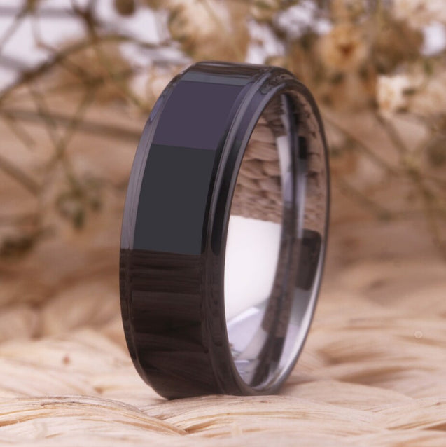 Black and Silver-Plated Tungsten Carbide Wedding Band