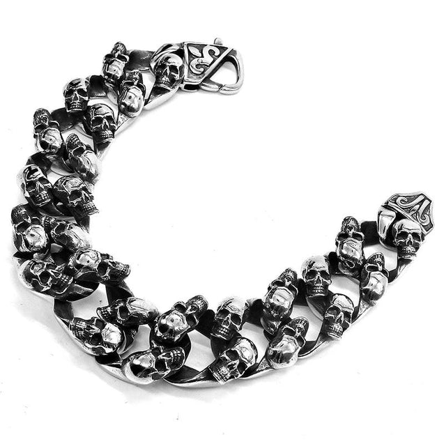 Big Men's Stainless Steel Skull Chain Punk Bracelet - InnovatoDesign