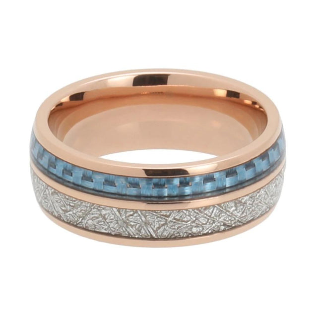 Rosegold Tungsten Carbide with Blue and Silver Meteorite Inlay Wedding Band - InnovatoDesign