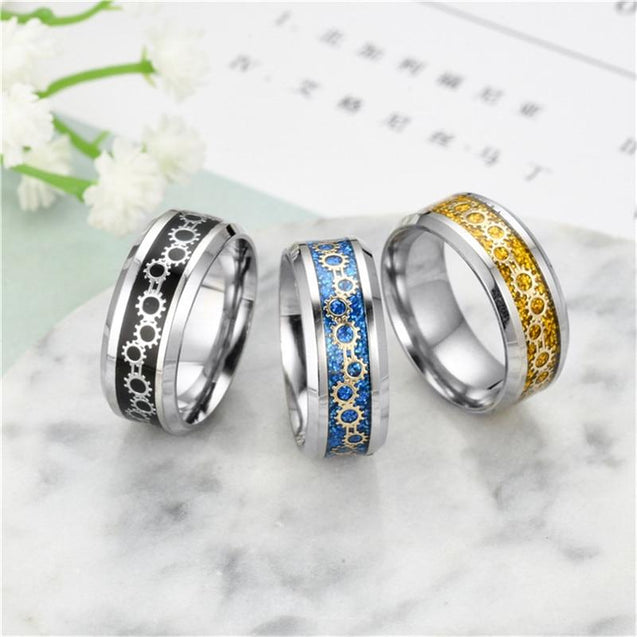 Black/Blue/Gold Stainless Steel with Gear Design Wedding Band - InnovatoDesign