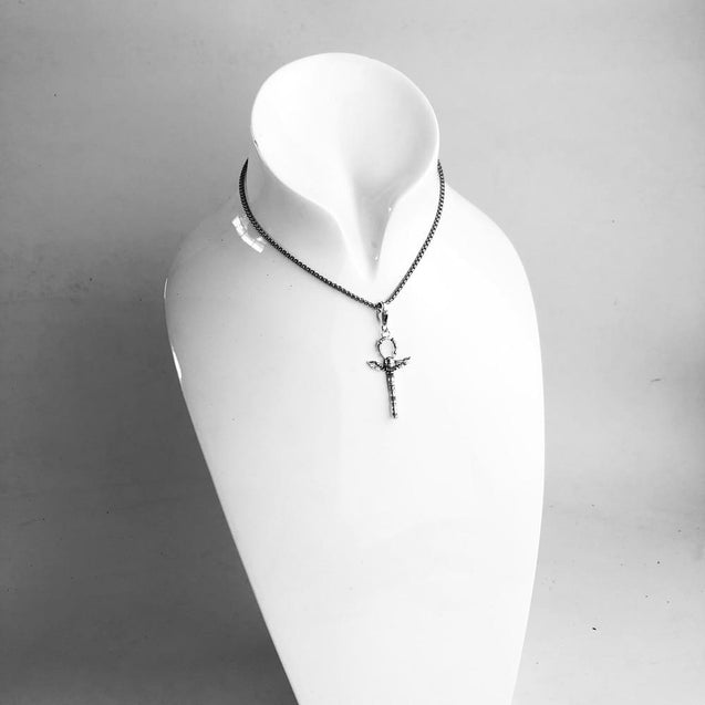 925 Sterling Silver Ankh Cross with Scarab Charms Pendant - InnovatoDesign