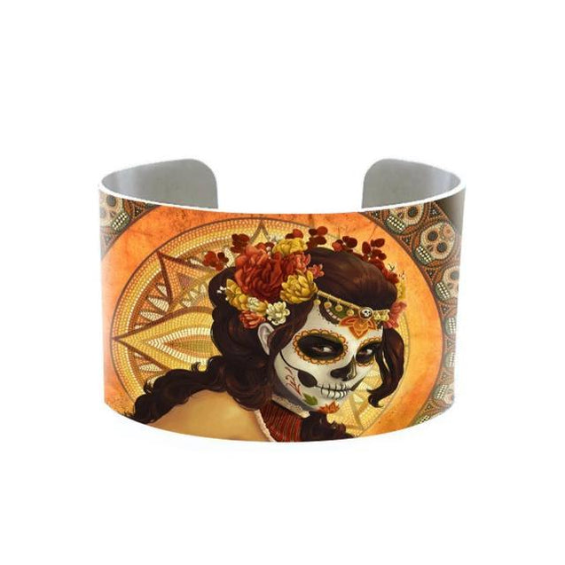 Adjustable Neo-Gothic Skull Bangle Bracelet for Women - InnovatoDesign