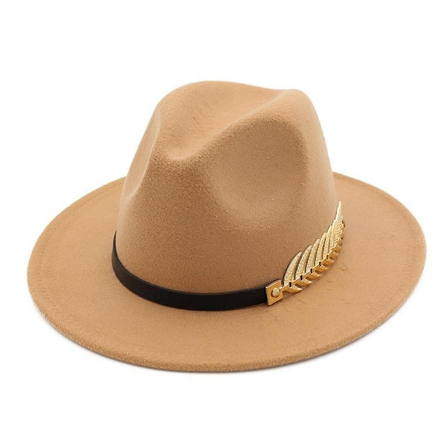 Large Brim Vintage Wool Ladies Golden Leaf Fedora Panama Hat