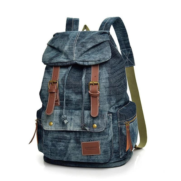 Blue Denim with Drawstring Casual 20 to 35 Litre Backpack - InnovatoDesign