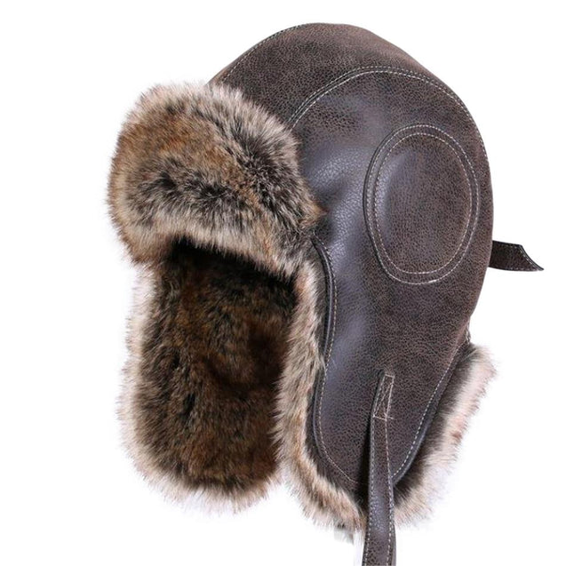 Trapper Leather Bomber Hat with Earflaps