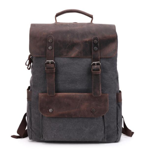Large Canvas Leather Waterproof 14 Inch 20 Litre Backpack - InnovatoDesign