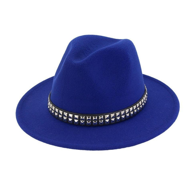 Wide Brim Cotton Fedora Panama Hat with Metal Sequins Hatband