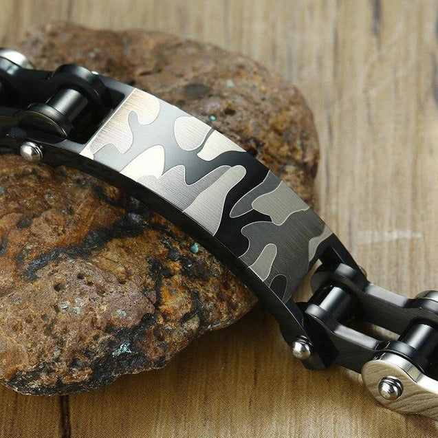 Camouflage Pattern Motorcycle Chain Bracelet - InnovatoDesign