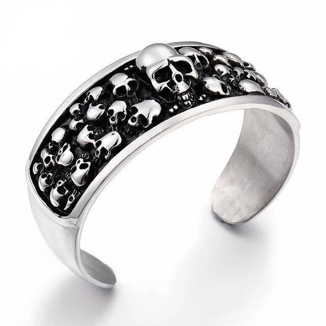 Men 316L Stainless Steel Silver and Black Toned Skull Cuff Bracelet - InnovatoDesign