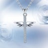 Sterling Silver Crystal Cross Pendant with Angel Wings Necklace - InnovatoDesign