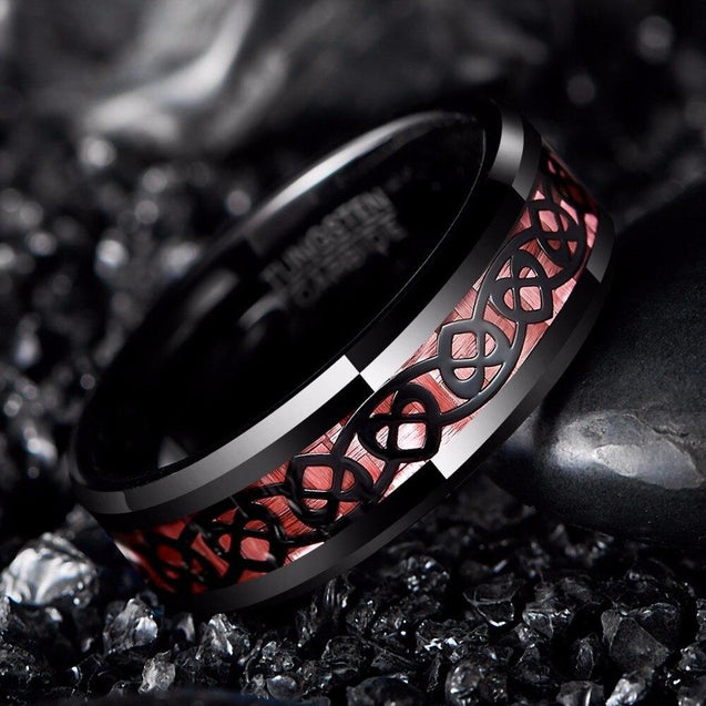 Black Tungsten Carbide in Pink Inlay with Heart Pattern Design Wedding Band - InnovatoDesign