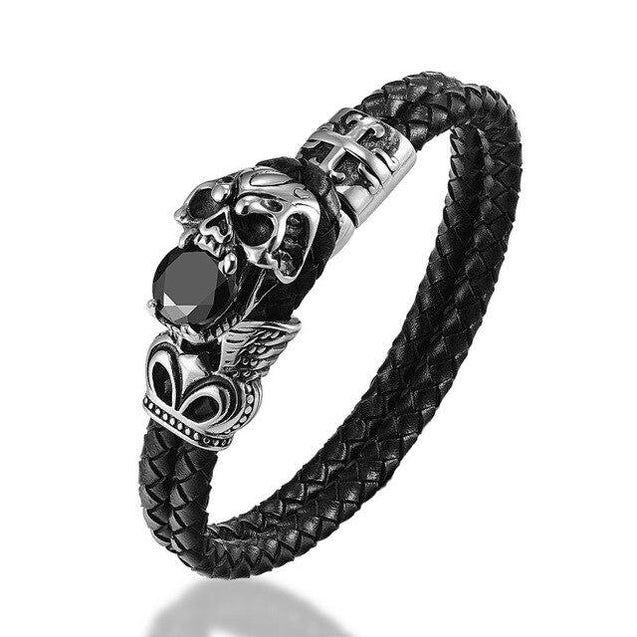 Genuine Leather Stainless Steel Skull and Zirconia Stone Bracelet - InnovatoDesign