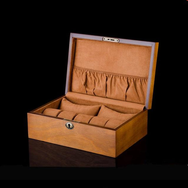 Brown European Wood Watch Storage Box With Lock - InnovatoDesign