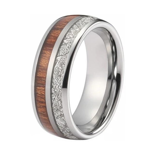 Tungsten with Wood and Meteorite Inlay Wedding Band - InnovatoDesign