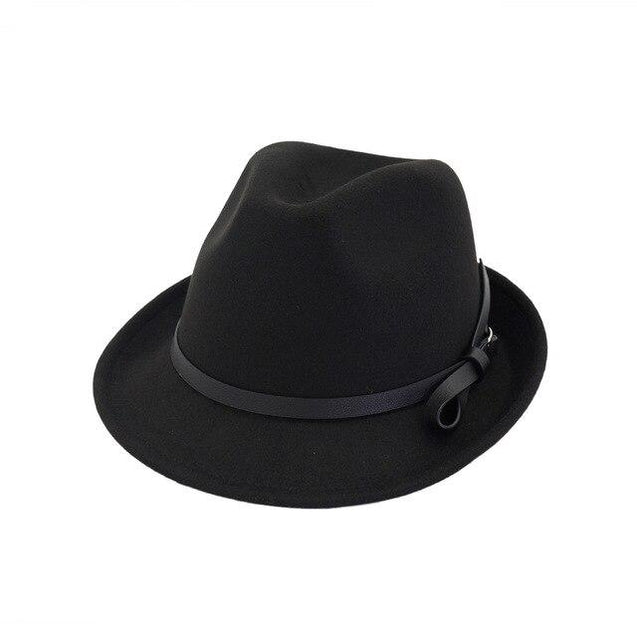 Vintage Wool Felt Trilby Hat with Black Belt Hatband