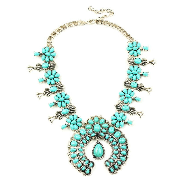 Silver Floral Squash Blossom Beaded Statement Necklace - InnovatoDesign