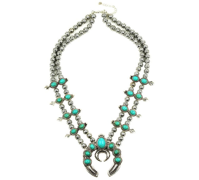 Silver Beaded Stone Double Layer Squash Blossom Statement Necklace - InnovatoDesign