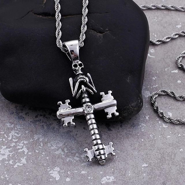 Stainless Steel Silver Mechanical Skeleton Cross Pendant Chain Necklace - InnovatoDesign