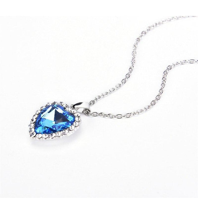 Blue Crystal Heart of Ocean Pendant Necklace with Rhinestone Border