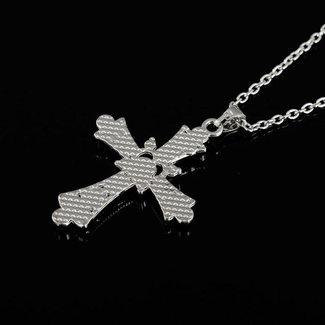 Silver Cross Pendant Necklace with Pink and Purple Crystals - InnovatoDesign