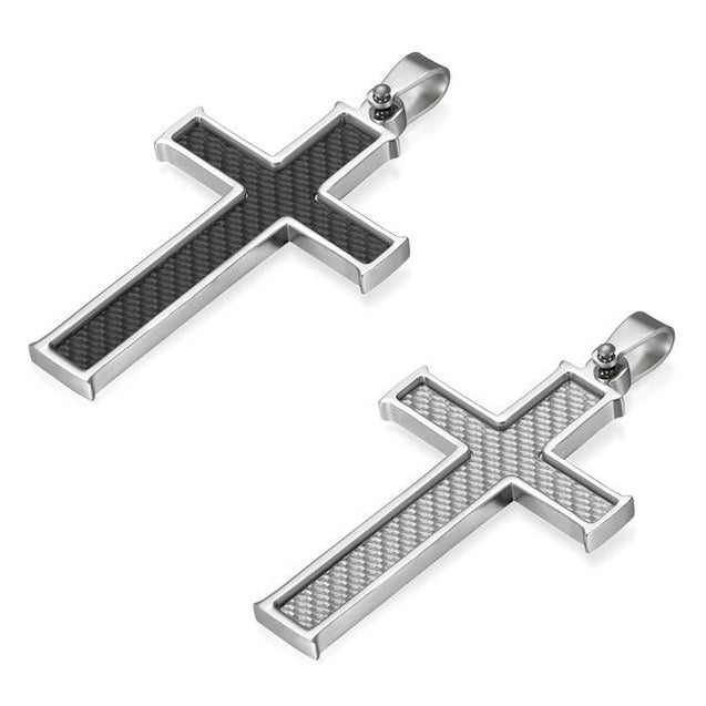 "Silver & Black Carbon Fiber Classic Cross Pendant and Necklace with 21.5"" Chain - InnovatoDesign"