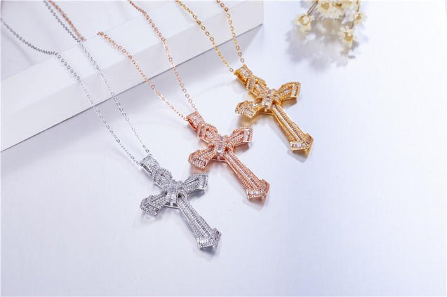 Bejeweled Crystal Sterling Silver Cross Pendant Necklace - InnovatoDesign