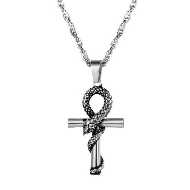 Egyptian Ankh Cross with Snake Pendant and Chain Necklace - InnovatoDesign