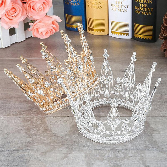 King & Queen Tiara Rhinestones Crown for Wedding or Prom - InnovatoDesign