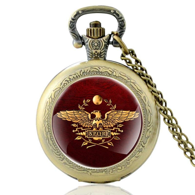 Classic Pocket Watch with Aquila Eagle of Roman Legion Symbolism - InnovatoDesign