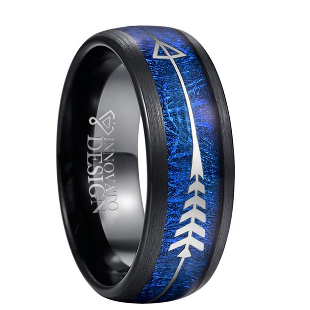 8mm Silver Arrow-Shaped Tungsten Carbide with Inlaid Blue Meteorite Wedding Band