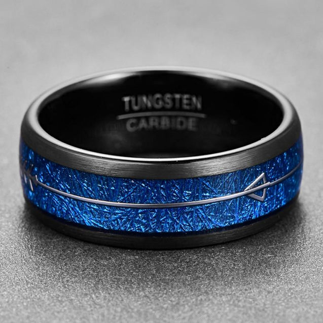 8mm Silver Arrow-Shaped Tungsten Carbide with Inlaid Blue Meteorite Wedding Band - InnovatoDesign