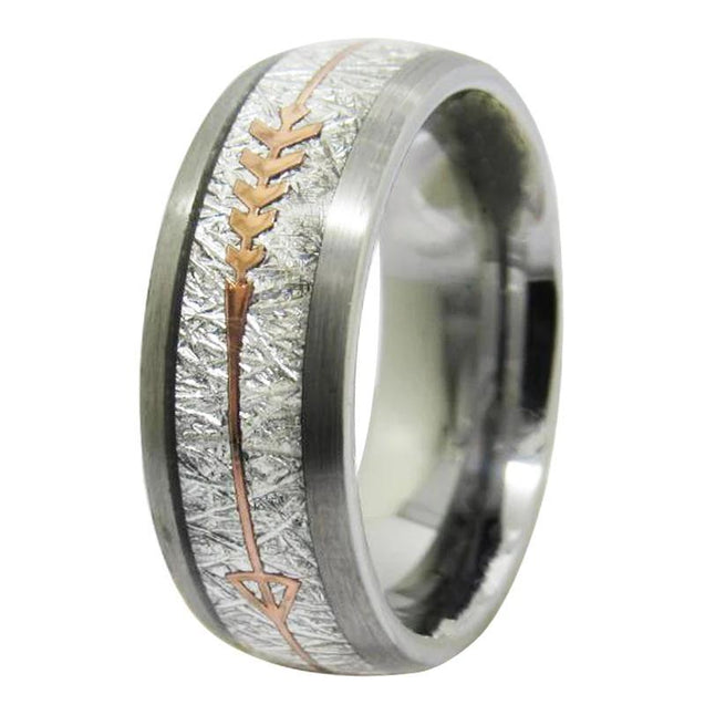 Tungsten with Meteorite Inlay Gold Arrow Wedding Band - InnovatoDesign