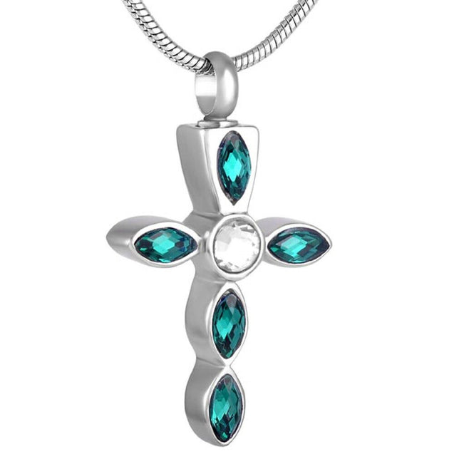 Silver Crystal Cross Memorial Urn Pendant with Necklace - InnovatoDesign
