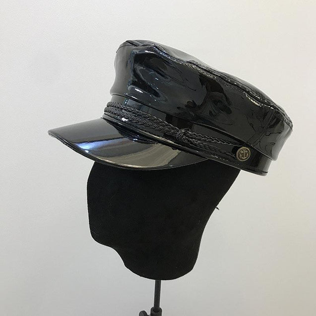 Faux Leather Shiny Black Flat Top Army Military Cap with Braids and Buttons