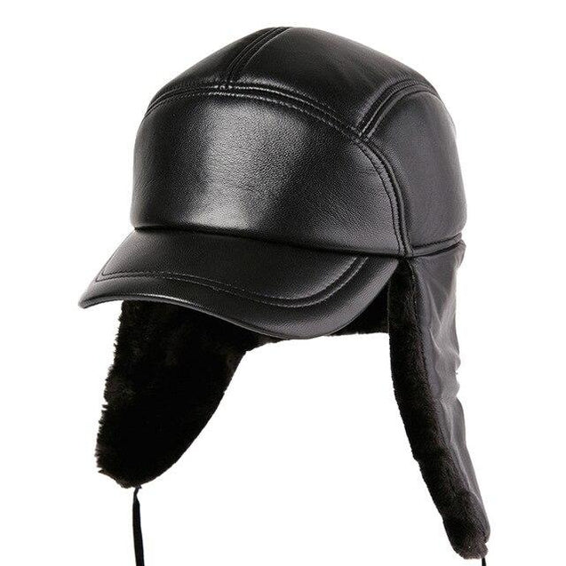 Black Leather Bomber Hat with Earflaps