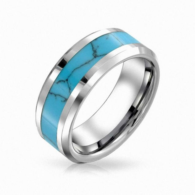 8/6mm Matching Pair of Tungsten Wedding Rings with Turquoise Inlay - InnovatoDesign
