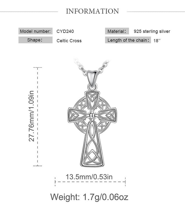 925 Sterling Silver Celtic Cross & Knot Pendant Necklace - InnovatoDesign