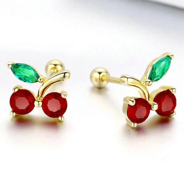 925 Sterling Silver Red & Gold and Green Cherry Stud Earrings