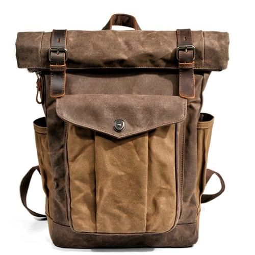 Oil Waxed Vintage Canvas and Genuine Leather Waterproof Travel Backpack - InnovatoDesign