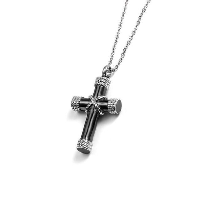 Urn Cross with Knotted Rope Design and Chain Necklace - InnovatoDesign